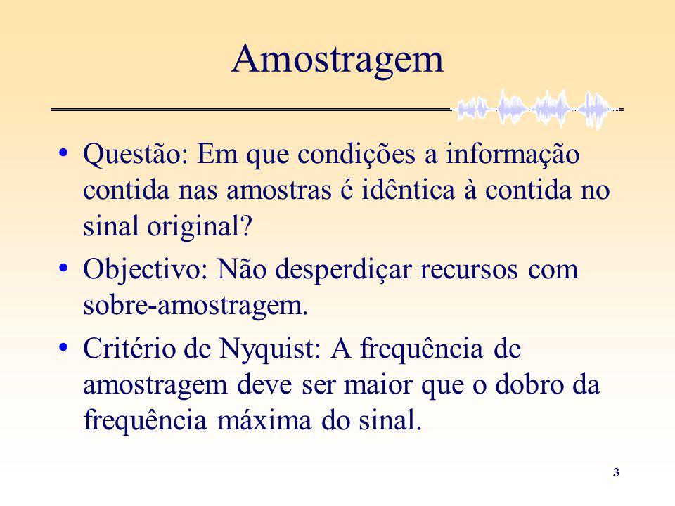 3 Questão: Em que condições a informação contida nas amostras é idêntica à contida no sinal original? Objectivo: Não desperdiçar recursos com sobre-am