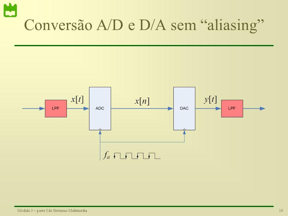 15Módulo 3 – parte I de Sistemas Multimédia Conversão A/D sem alias Critério de Nyquist Para evitar o aliasing na operação de amostragem, o conversor