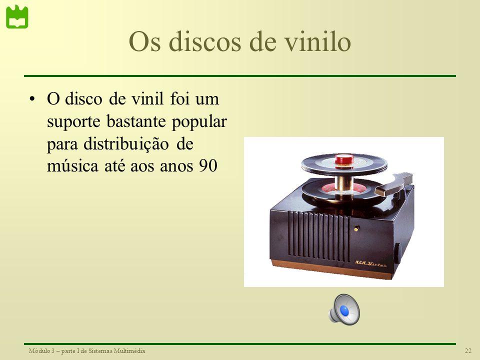 21Módulo 3 – parte I de Sistemas Multimédia Um pouco de história Em 1877 foi realizada a primeira gravação da voz humana por Thomas Edison com umphona