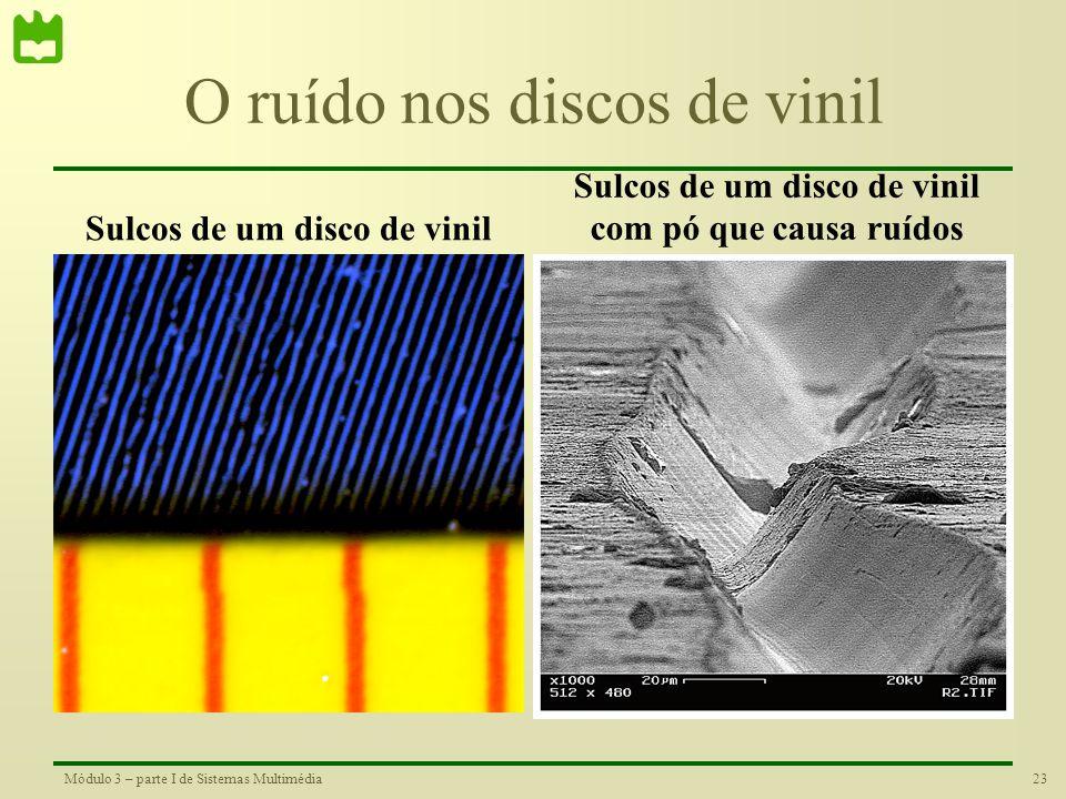 22Módulo 3 – parte I de Sistemas Multimédia Os discos de vinilo O disco de vinil foi um suporte bastante popular para distribuição de música até aos a