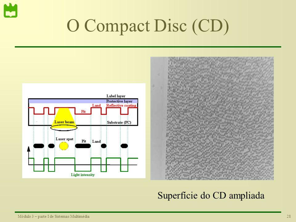 27Módulo 3 – parte I de Sistemas Multimédia O Compact Disc (CD) Os CD foram um formato bastante popular para o armazenamento de música em formato digi