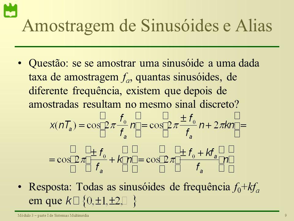 8Módulo 3 – parte I de Sistemas Multimédia Amostragem de Sinusóides Considere-se uma sinusóide de frequência f 0 [Hz] Se se amostrar esta sinusóide a