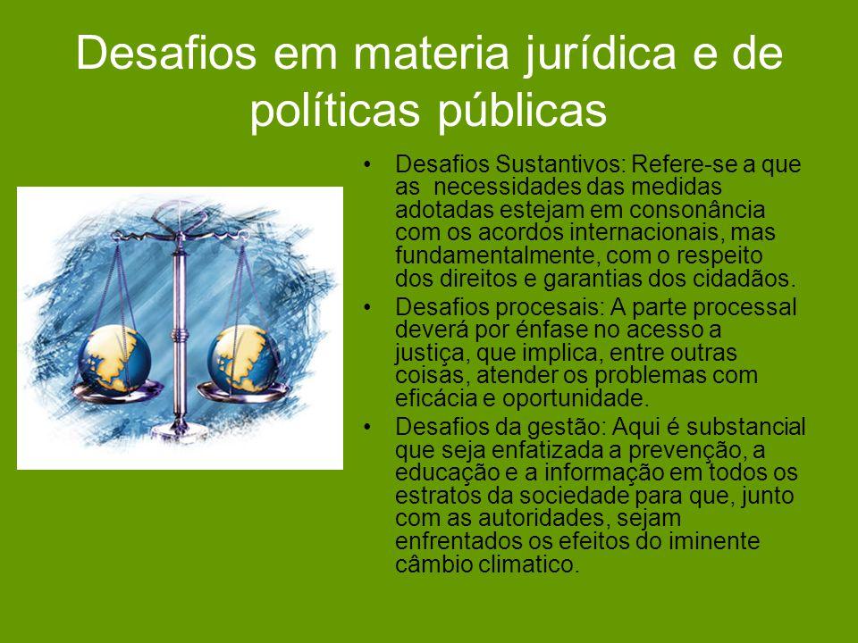 Desafios em materia jurídica e de políticas públicas Desafios Sustantivos: Refere-se a que as necessidades das medidas adotadas estejam em consonância com os acordos internacionais, mas fundamentalmente, com o respeito dos direitos e garantias dos cidadãos.
