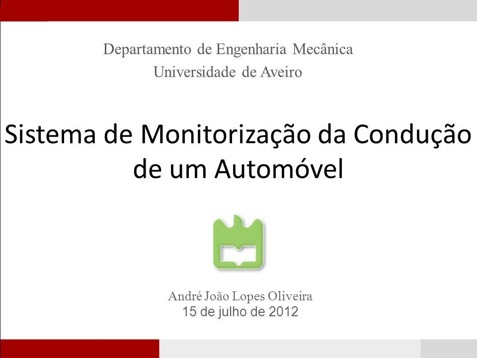 Sistema de Monitorização da Condução de um Automóvel Departamento de Engenharia Mecânica Universidade de Aveiro André João Lopes Oliveira 15 de julho de 2012