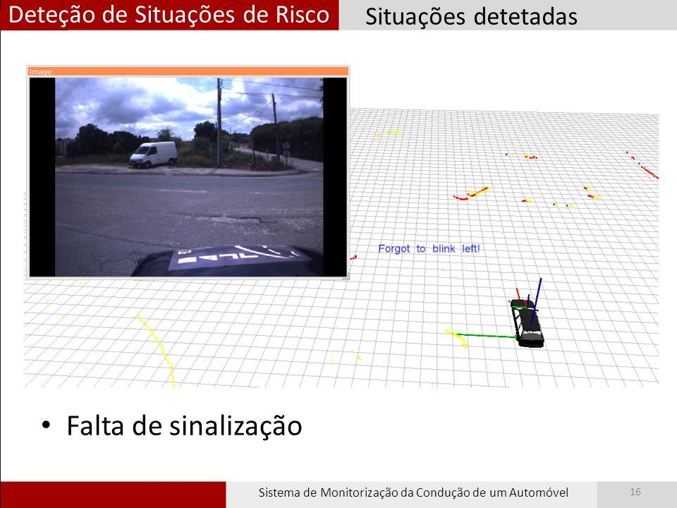 Deteção de Situações de Risco Sistema de Monitorização da Condução de um Automóvel 16 Falta de sinalização Situações detetadas