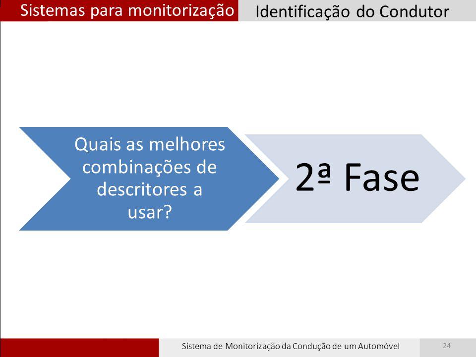 Sistemas para monitorização Sistema de Monitorização da Condução de um Automóvel 24 Identificação do Condutor Quais as melhores combinações de descrit