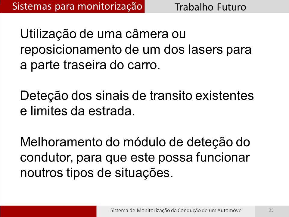 Sistemas para monitorização Sistema de Monitorização da Condução de um Automóvel 35 Trabalho Futuro Utilização de uma câmera ou reposicionamento de um dos lasers para a parte traseira do carro.