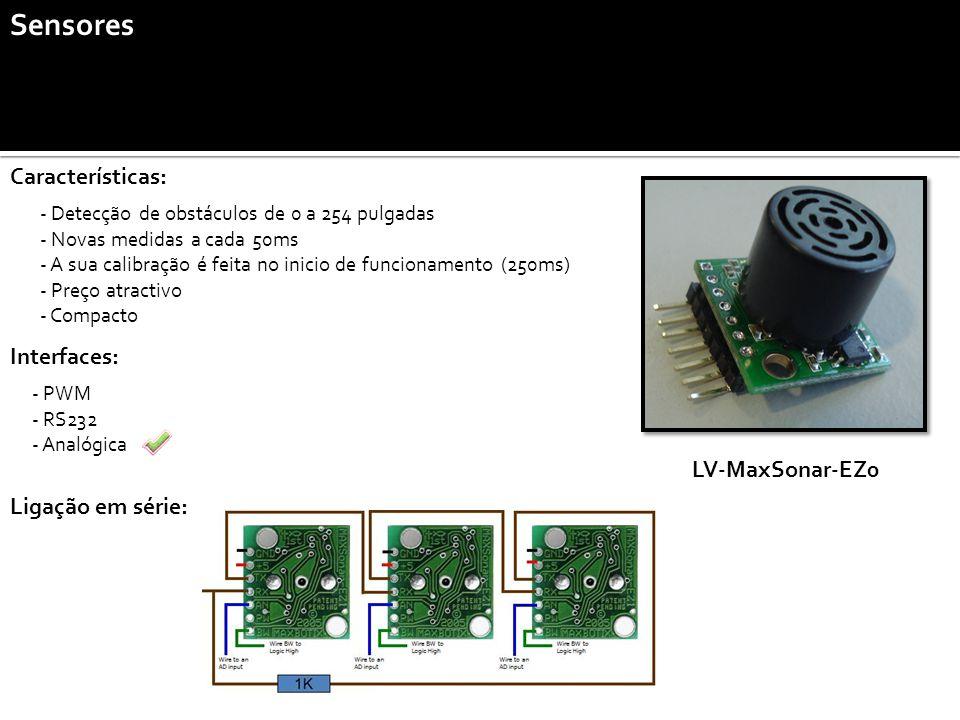 Sensores - Detecção de obstáculos de 0 a 254 pulgadas - Novas medidas a cada 50ms - A sua calibração é feita no inicio de funcionamento (250ms) - Preço atractivo - Compacto LV-MaxSonar-EZ0 Características: Interfaces: - PWM - RS232 - Analógica Ligação em série:
