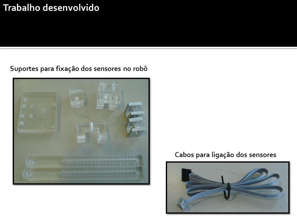 Trabalho desenvolvido Cabos para ligação dos sensores Suportes para fixação dos sensores no robô