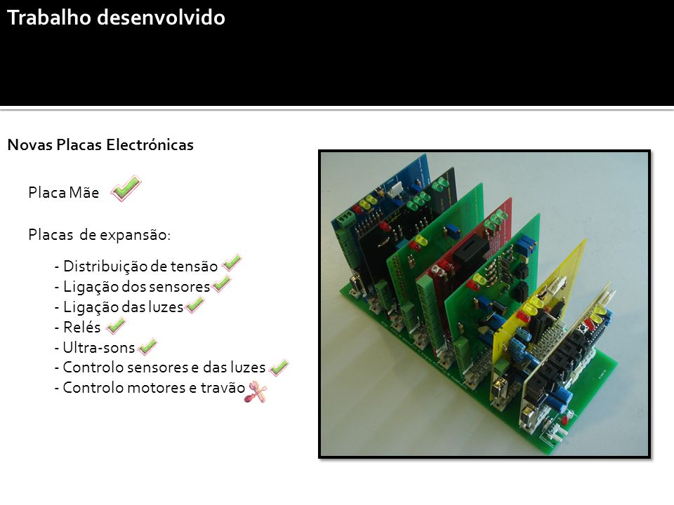 Trabalho desenvolvido Novas Placas Electrónicas Placa Mãe Placas de expansão: - Distribuição de tensão - Ligação dos sensores - Ligação das luzes - Relés - Ultra-sons - Controlo sensores e das luzes - Controlo motores e travão