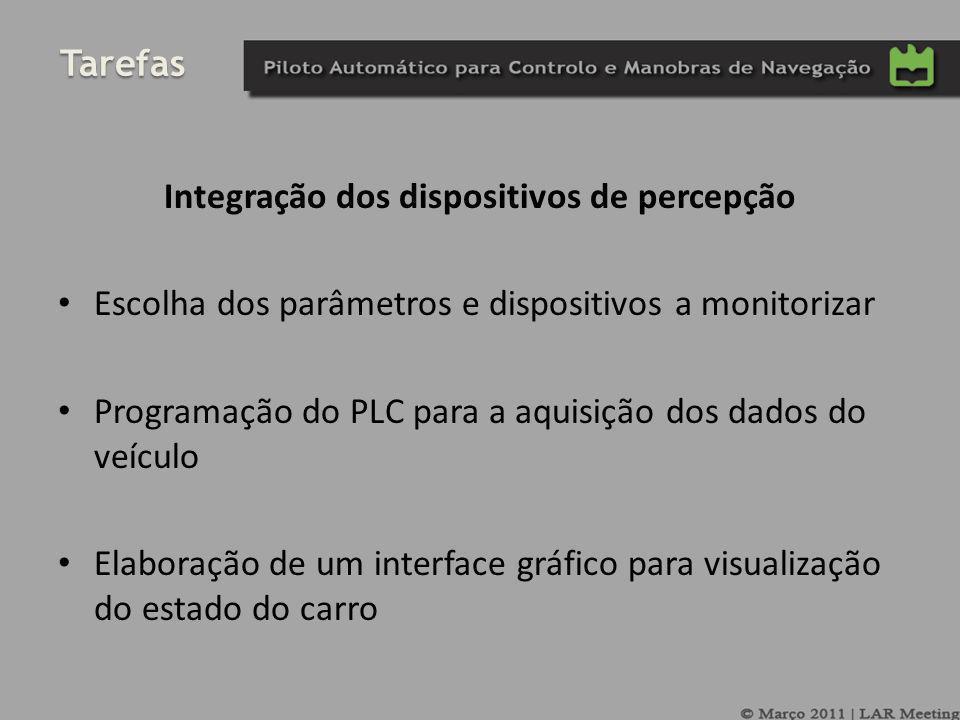 Tarefas Integração dos dispositivos de percepção Escolha dos parâmetros e dispositivos a monitorizar Programação do PLC para a aquisição dos dados do veículo Elaboração de um interface gráfico para visualização do estado do carro