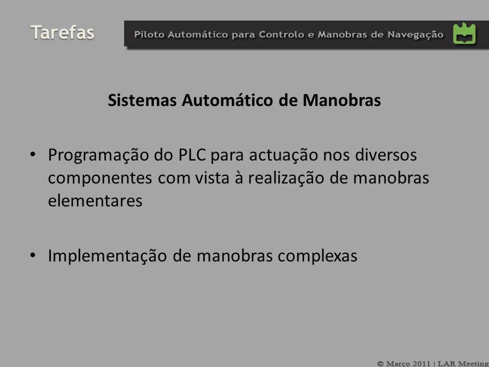 Tarefas Sistemas Automático de Manobras Programação do PLC para actuação nos diversos componentes com vista à realização de manobras elementares Implementação de manobras complexas