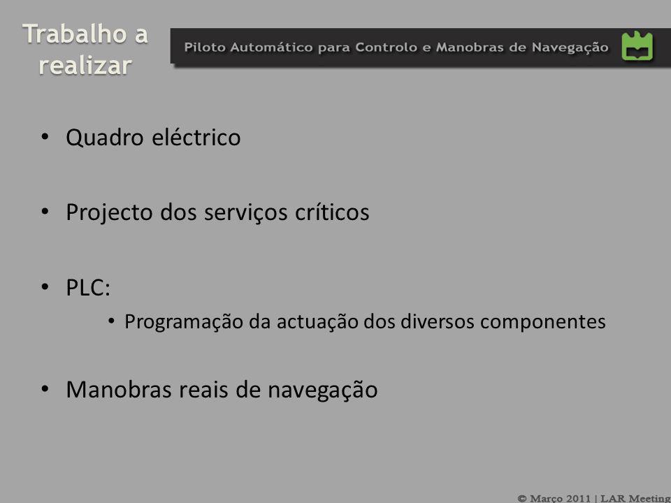 Trabalho a realizar Quadro eléctrico Projecto dos serviços críticos PLC: Programação da actuação dos diversos componentes Manobras reais de navegação