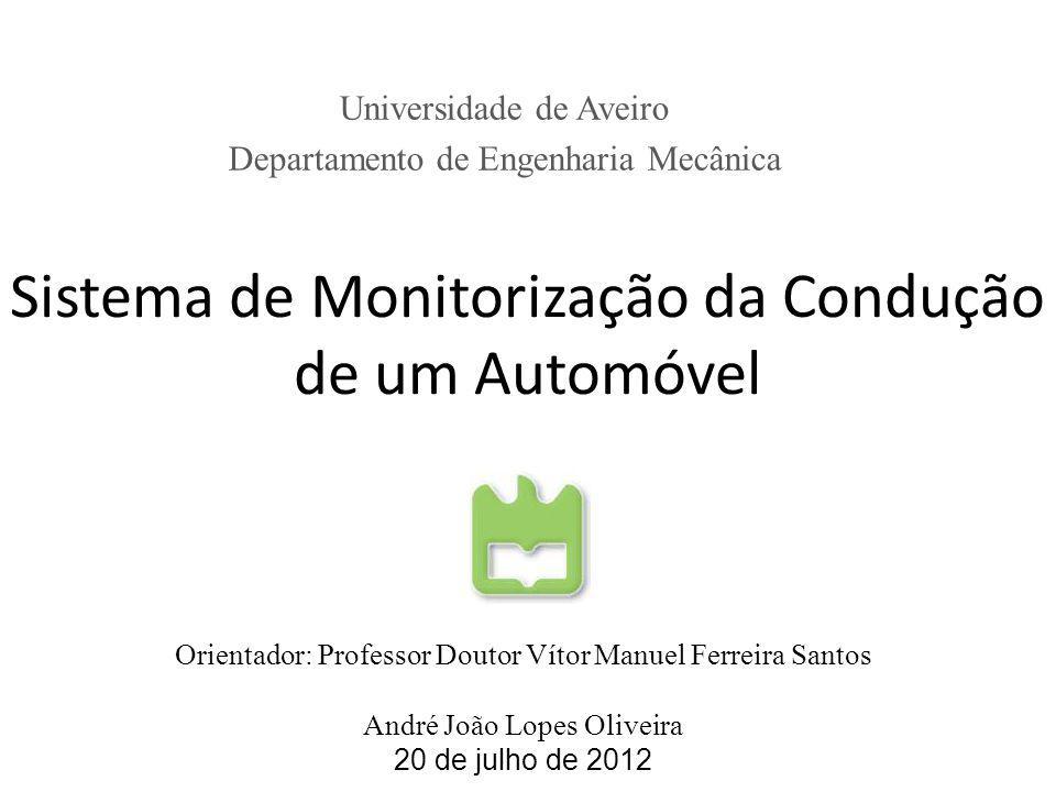 Sistema de Monitorização da Condução de um Automóvel Universidade de Aveiro Departamento de Engenharia Mecânica Orientador: Professor Doutor Vítor Man