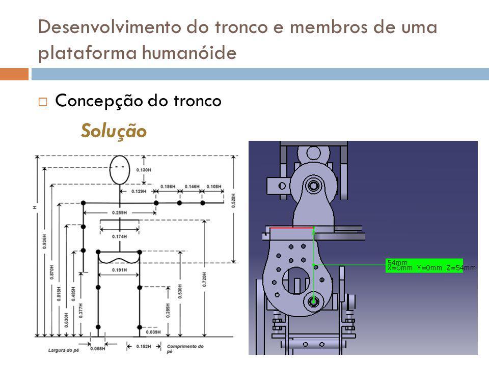 Concepção do tronco Desenvolvimento do tronco e membros de uma plataforma humanóide Solução