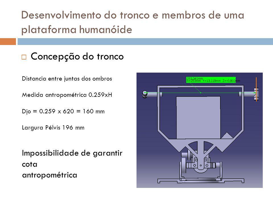 Concepção do tronco Distancia entre juntas dos ombros Medida antropométrica 0.259xH Djo = 0.259 x 620 = 160 mm Largura Pélvis 196 mm Impossibilidade d