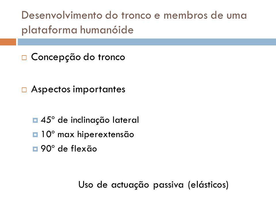 Concepção do tronco Aspectos importantes 45º de inclinação lateral 10º max hiperextensão 90º de flexão Desenvolvimento do tronco e membros de uma plat