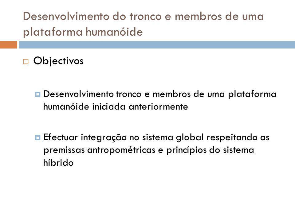 Desenvolvimento do tronco e membros de uma plataforma humanóide Objectivos Desenvolvimento tronco e membros de uma plataforma humanóide iniciada anter