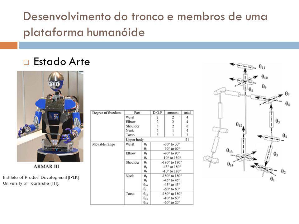 Concepção do tronco Aspectos importantes 45º de inclinação lateral 10º max hiperextensão 90º de flexão Desenvolvimento do tronco e membros de uma plataforma humanóide Uso de actuação passiva (elásticos)