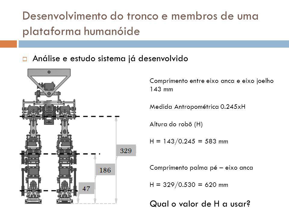 Desenvolvimento do tronco e membros de uma plataforma humanóide Comprimento entre eixo anca e eixo joelho 143 mm Medida Antropométrica 0.245xH Altura