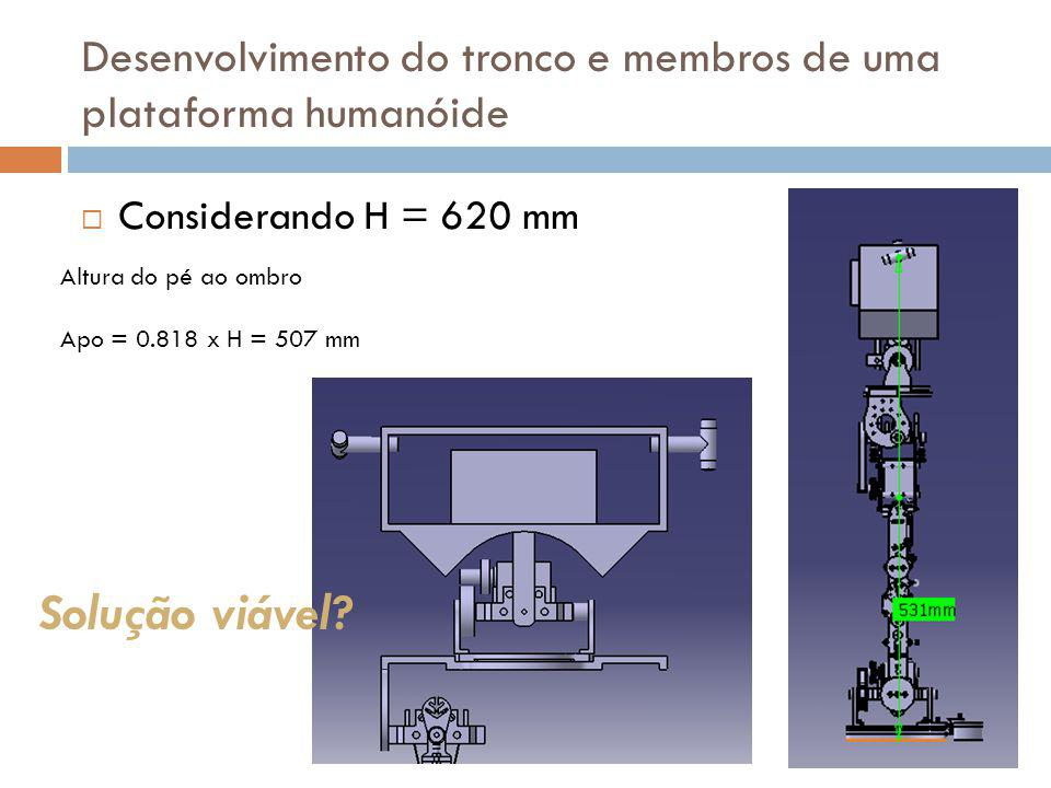 Concepção do tronco Acomodação da unidade de processamento (96x91x51) Acomodação da unidade de distribuição energia Baterias (na pior hipótese baterias de 37x37x66) 2 Actuadores activos (rotação ombro) + 1 actuador (inclinação lateral) Desenvolvimento do tronco e membros de uma plataforma humanóide