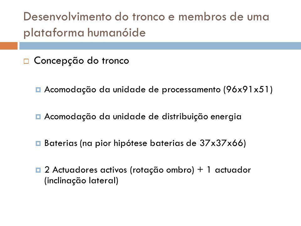Concepção do tronco Acomodação da unidade de processamento (96x91x51) Acomodação da unidade de distribuição energia Baterias (na pior hipótese bateria
