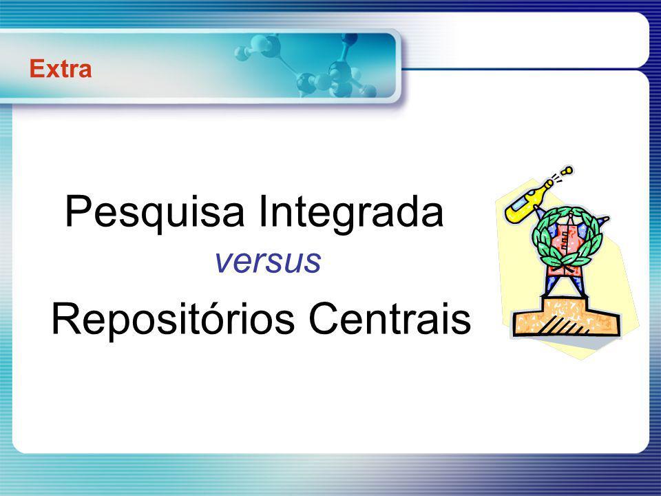 1 – Dinâmica da Pesquisa: Integração de Registos (Repositório Central) OPAC 1 OPAC 2 OPAC N 5 15 7 24 3 2 26 registos x xx Extra Pesquisa Integrada vs Repositórios Centrais