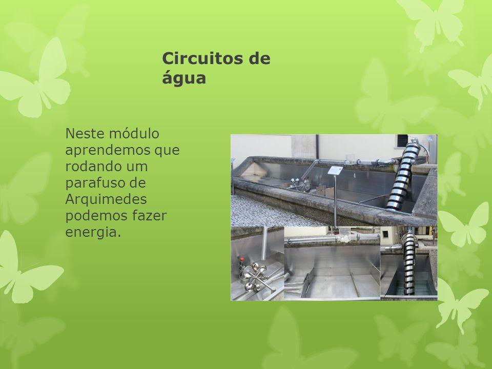 Circuitos de água Neste módulo aprendemos que rodando um parafuso de Arquimedes podemos fazer energia.