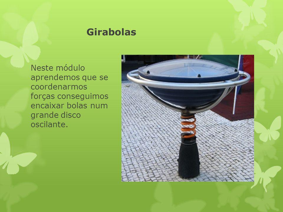 Girabolas Neste módulo aprendemos que se coordenarmos forças conseguimos encaixar bolas num grande disco oscilante.