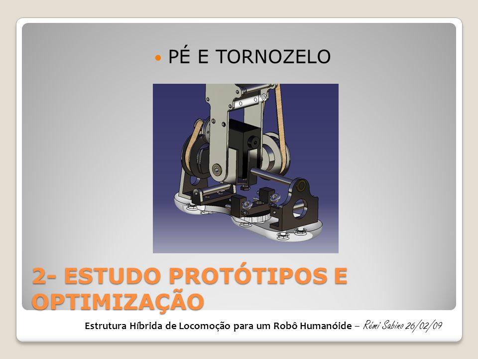 2- ESTUDO PROTÓTIPOS E OPTIMIZAÇÃO PÉ E TORNOZELO Estrutura Híbrida de Locomoção para um Robô Humanóide – Rémi Sabino 26/02/09