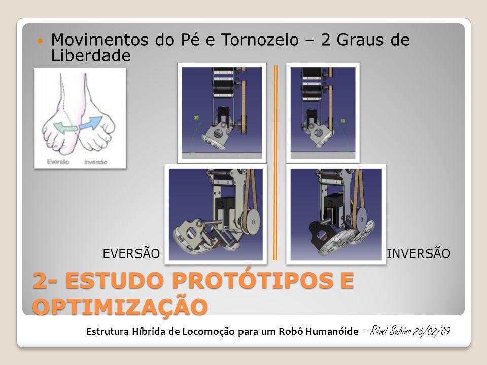 2- ESTUDO PROTÓTIPOS E OPTIMIZAÇÃO Movimentos do Pé e Tornozelo – 2 Graus de Liberdade EVERSÃOINVERSÃO Estrutura Híbrida de Locomoção para um Robô Hum