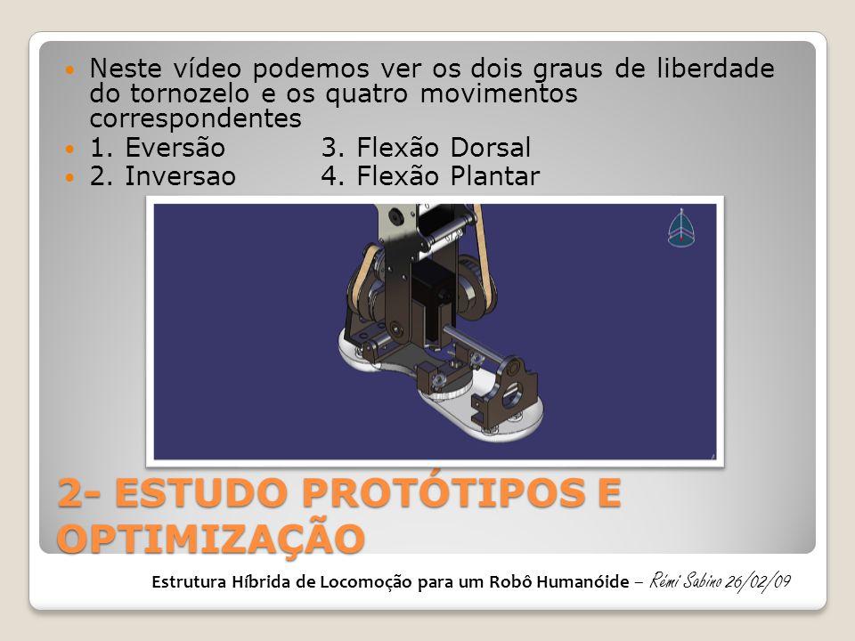 2- ESTUDO PROTÓTIPOS E OPTIMIZAÇÃO Neste vídeo podemos ver os dois graus de liberdade do tornozelo e os quatro movimentos correspondentes 1. Eversão3.