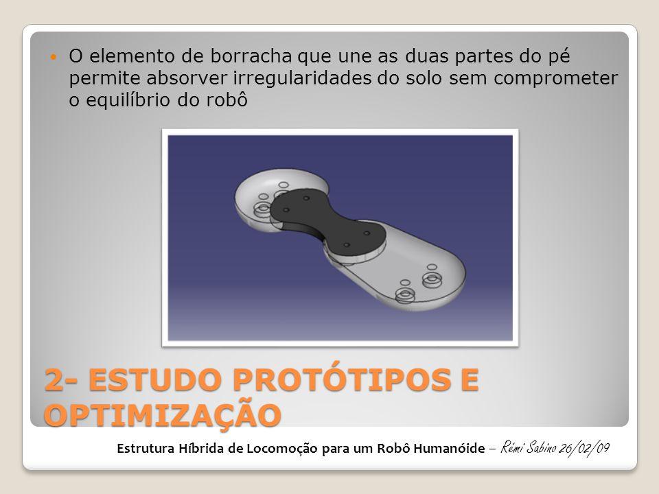 2- ESTUDO PROTÓTIPOS E OPTIMIZAÇÃO O elemento de borracha que une as duas partes do pé permite absorver irregularidades do solo sem comprometer o equi
