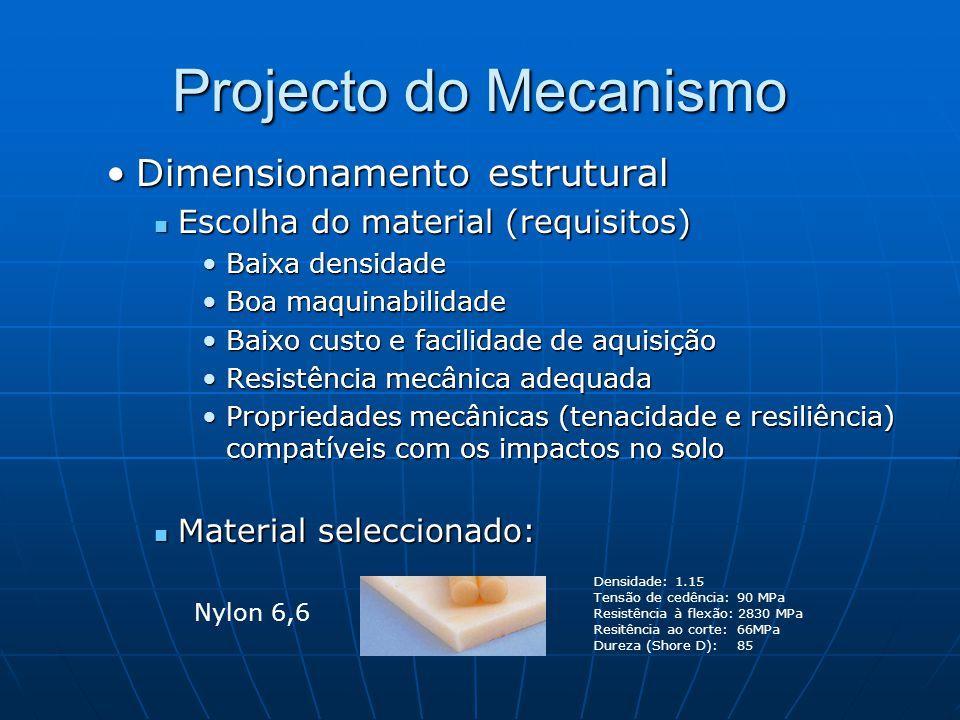 Projecto do Mecanismo Dimensionamento estruturalDimensionamento estrutural Escolha do material (requisitos) Escolha do material (requisitos) Baixa densidadeBaixa densidade Boa maquinabilidadeBoa maquinabilidade Baixo custo e facilidade de aquisiçãoBaixo custo e facilidade de aquisição Resistência mecânica adequadaResistência mecânica adequada Propriedades mecânicas (tenacidade e resiliência) compatíveis com os impactos no soloPropriedades mecânicas (tenacidade e resiliência) compatíveis com os impactos no solo Material seleccionado: Material seleccionado: Densidade: 1.15 Tensão de cedência: 90 MPa Resistência à flexão: 2830 MPa Resitência ao corte: 66MPa Dureza (Shore D): 85 Nylon 6,6