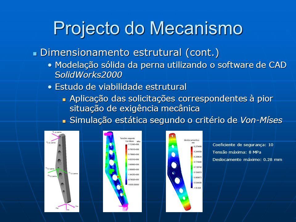 Projecto do Mecanismo Dimensionamento estrutural (cont.) Dimensionamento estrutural (cont.) Modelação sólida da perna utilizando o software de CAD SolidWorks2000Modelação sólida da perna utilizando o software de CAD SolidWorks2000 Estudo de viabilidade estruturalEstudo de viabilidade estrutural Aplicação das solicitações correspondentes à pior situação de exigência mecânica Aplicação das solicitações correspondentes à pior situação de exigência mecânica Simulação estática segundo o critério de Von-Míses Simulação estática segundo o critério de Von-Míses Coeficiente de segurança: 10 Tensão máxima: 8 MPa Deslocamento máximo: 0.28 mm