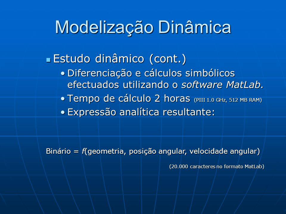 Modelização Dinâmica Estudo dinâmico (cont.) Estudo dinâmico (cont.) Diferenciação e cálculos simbólicos efectuados utilizando o software MatLab.Difer