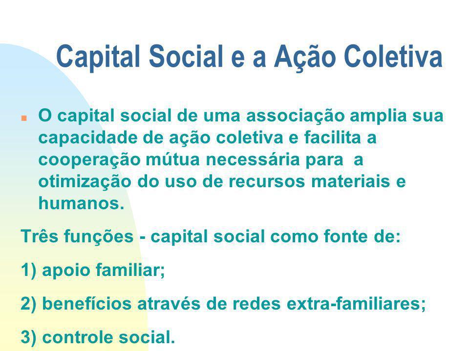 Capital Social e a Ação Coletiva O capital social de uma associação amplia sua capacidade de ação coletiva e facilita a cooperação mútua necessária pa