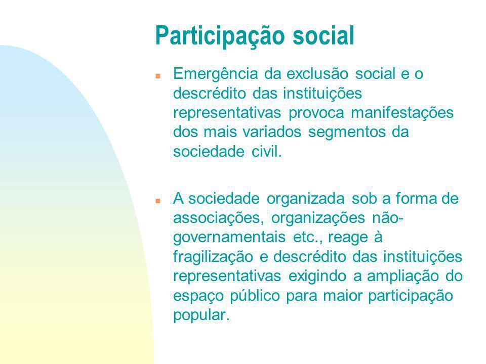 Emergência da exclusão social e o descrédito das instituições representativas provoca manifestações dos mais variados segmentos da sociedade civil. A