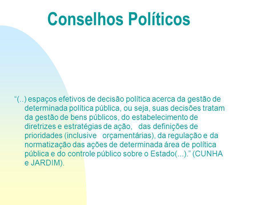(..) espaços efetivos de decisão política acerca da gestão de determinada política pública, ou seja, suas decisões tratam da gestão de bens públicos,