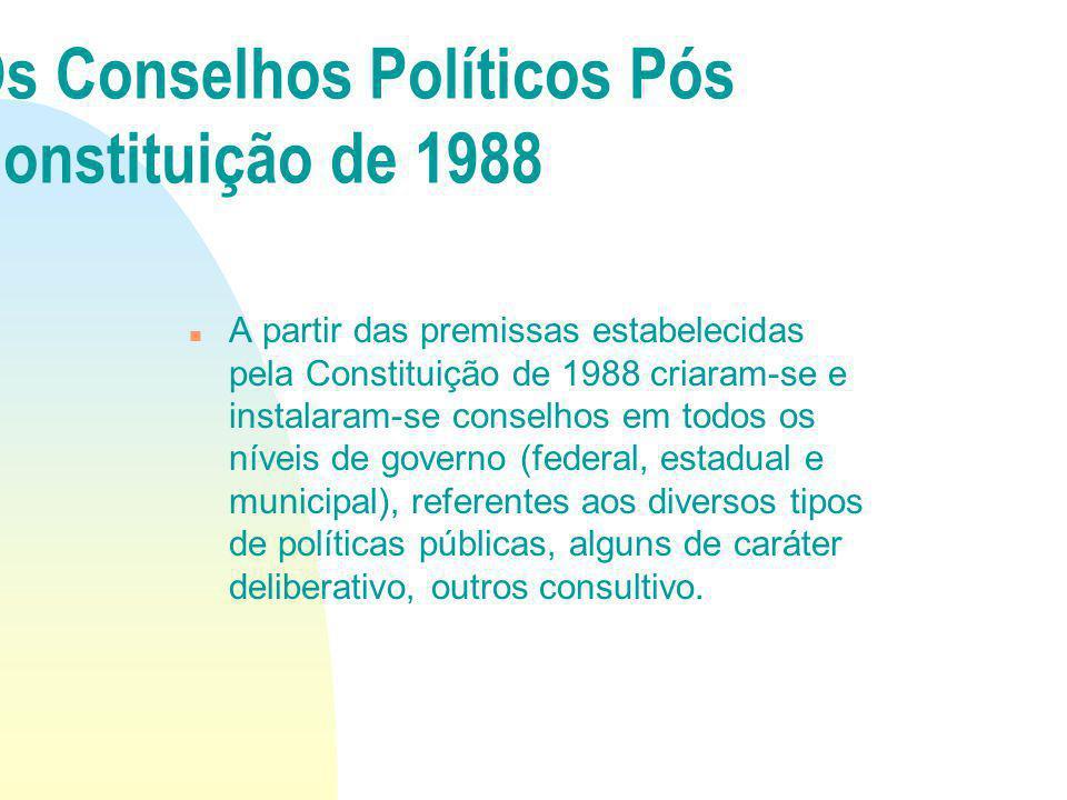 A partir das premissas estabelecidas pela Constituição de 1988 criaram-se e instalaram-se conselhos em todos os níveis de governo (federal, estadual e