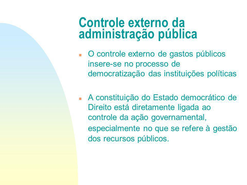 Controle externo da administração pública O controle externo de gastos públicos insere-se no processo de democratização das instituições políticas A c