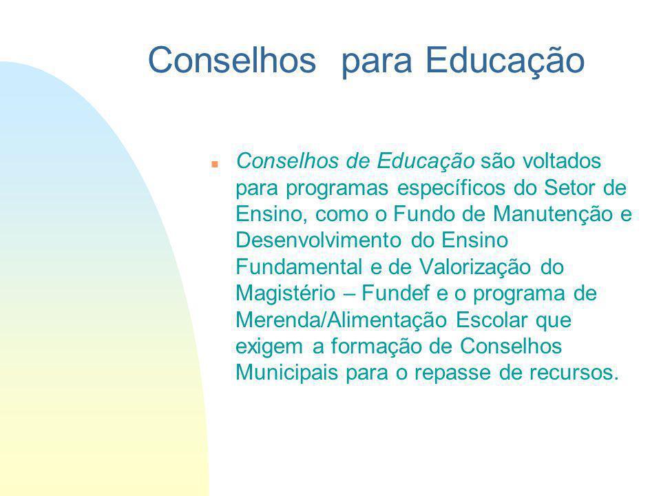 Conselhos de Educação são voltados para programas específicos do Setor de Ensino, como o Fundo de Manutenção e Desenvolvimento do Ensino Fundamental e