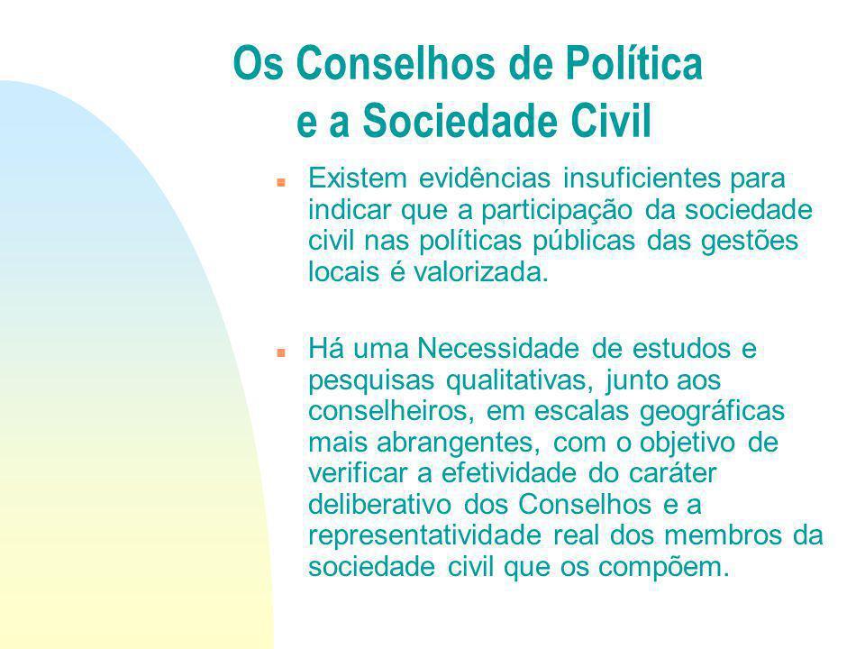 Existem evidências insuficientes para indicar que a participação da sociedade civil nas políticas públicas das gestões locais é valorizada. Há uma Nec