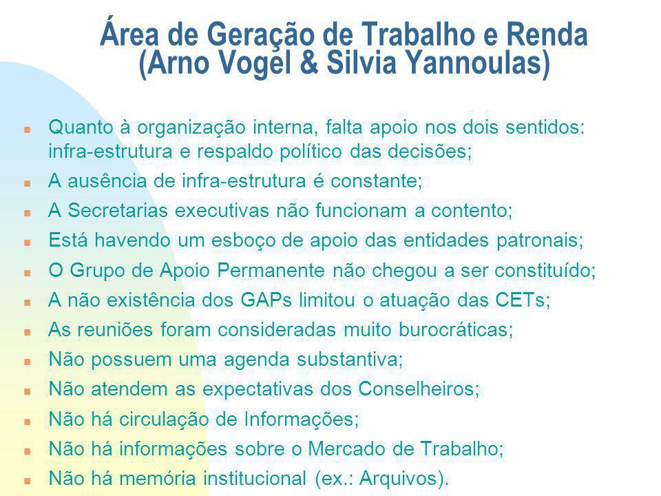 Área de Geração de Trabalho e Renda (Arno Vogel & Silvia Yannoulas) Quanto à organização interna, falta apoio nos dois sentidos: infra-estrutura e res