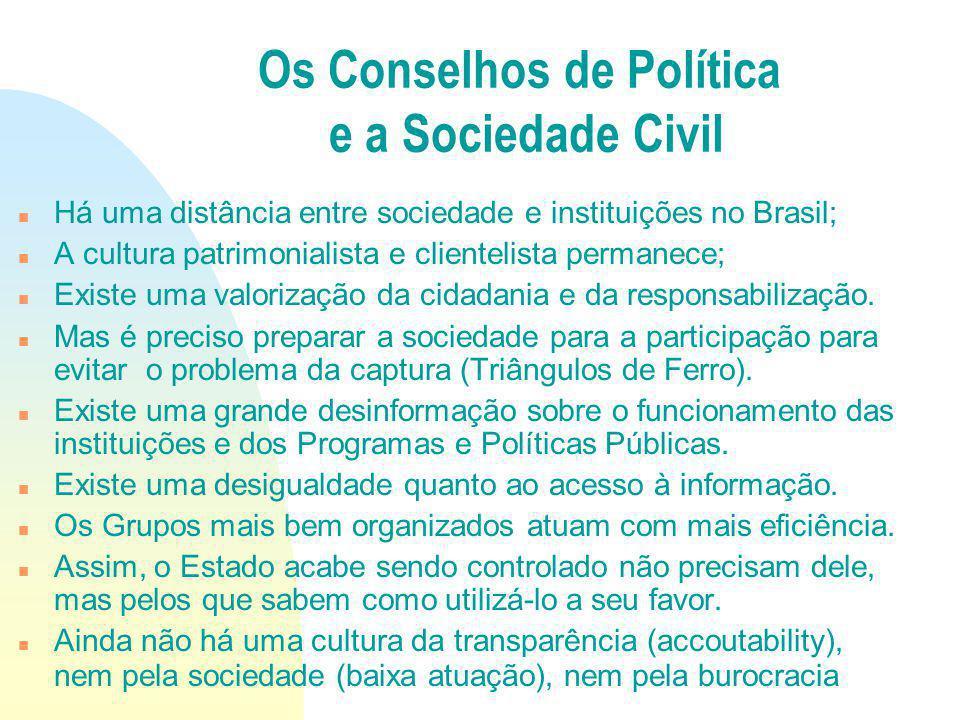 Há uma distância entre sociedade e instituições no Brasil; A cultura patrimonialista e clientelista permanece; Existe uma valorização da cidadania e d