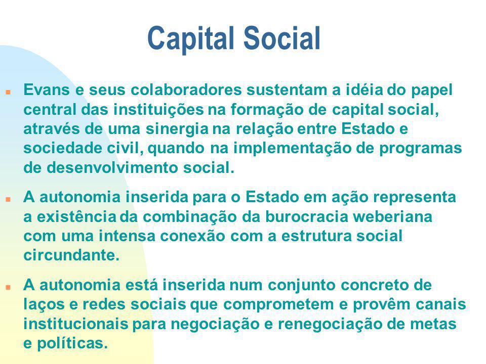 Capital Social Evans e seus colaboradores sustentam a idéia do papel central das instituições na formação de capital social, através de uma sinergia n