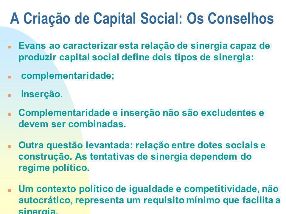A Criação de Capital Social: Os Conselhos Evans ao caracterizar esta relação de sinergia capaz de produzir capital social define dois tipos de sinergi