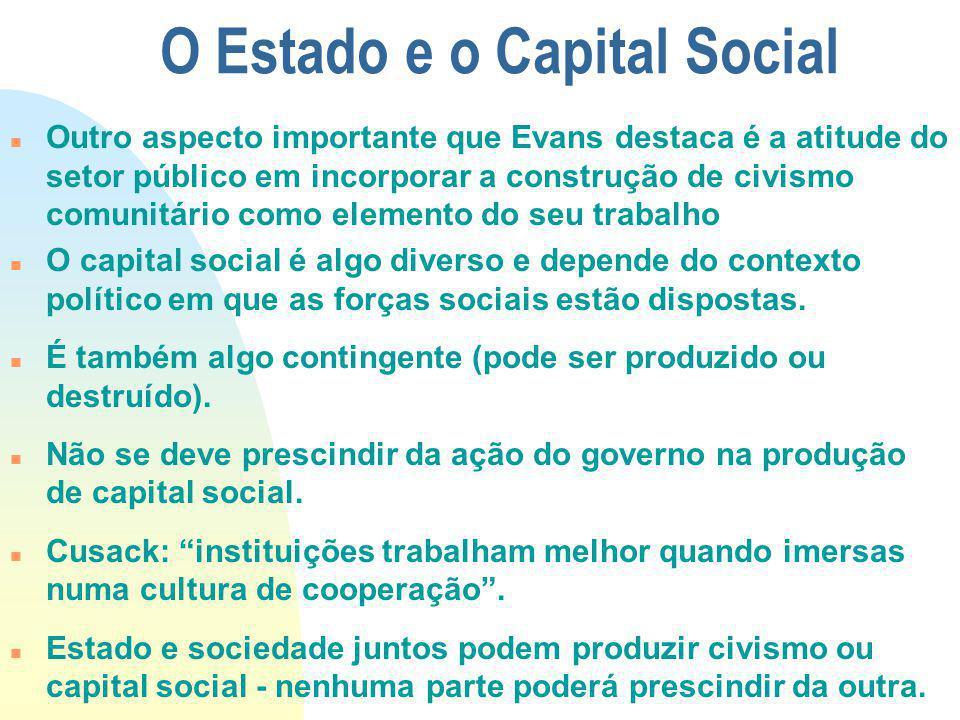O Estado e o Capital Social Outro aspecto importante que Evans destaca é a atitude do setor público em incorporar a construção de civismo comunitário