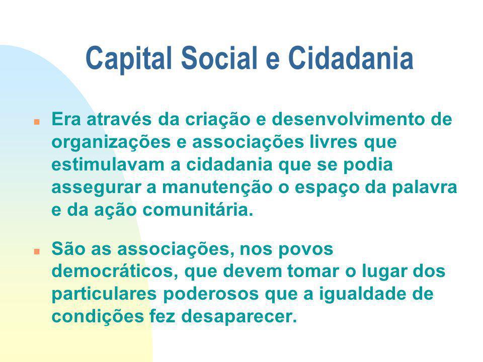 Capital Social e Cidadania Era através da criação e desenvolvimento de organizações e associações livres que estimulavam a cidadania que se podia asse