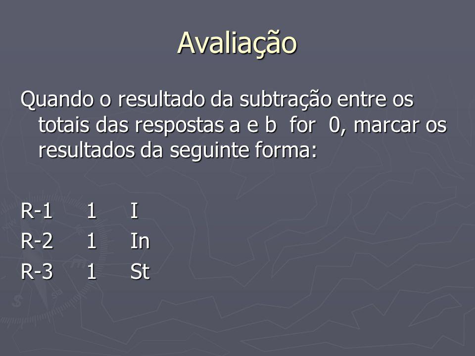 Avaliação Quando o resultado da subtração entre os totais das respostas a e b for 0, marcar os resultados da seguinte forma: R-1 1 I R-2 1 In R-3 1 St